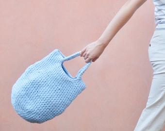 Baby Blue Crochet Pod Bag