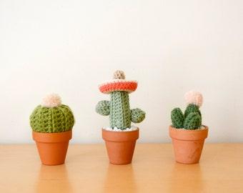 Mini Crocheted Cacti Trio (With Sombrero)