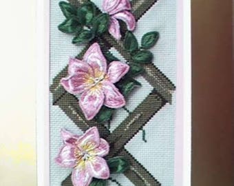 Pink Clematis Stumpwork Embroidery Kit-stumpwork-Julie Anne Designs-cross stitch