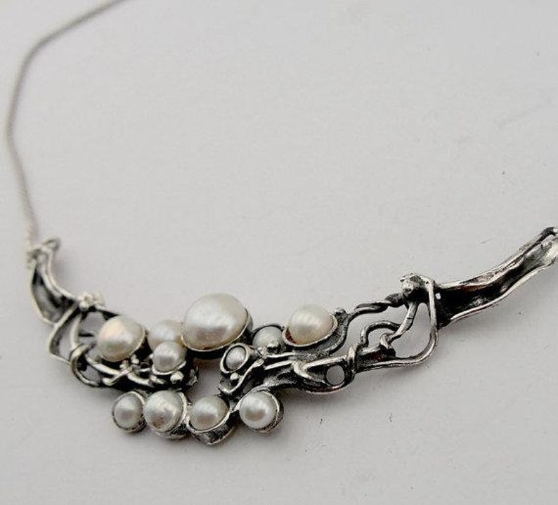 4103 Fine Sterling Silver 925 cluster of white pearls Pendant chain,gift