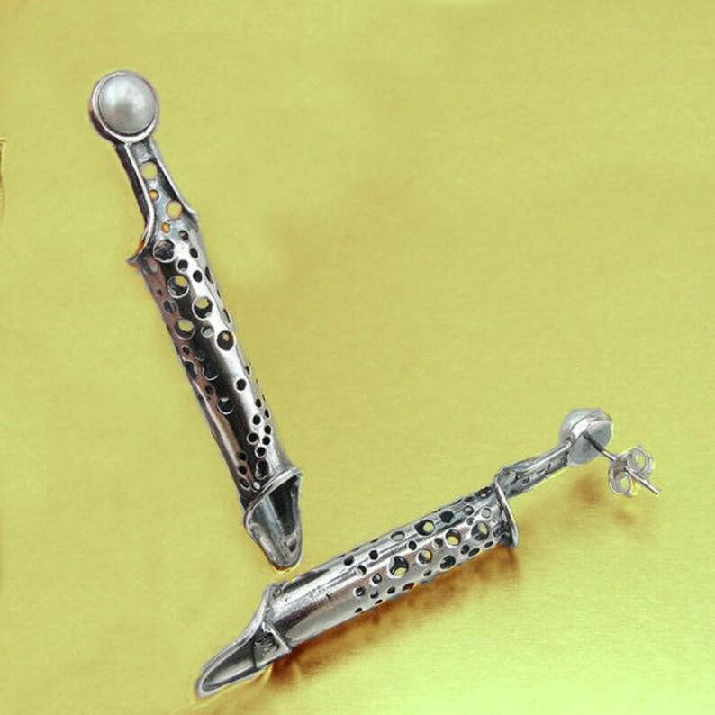 Duerry/'s Handmade Silver Pearl Long Stud Earrings