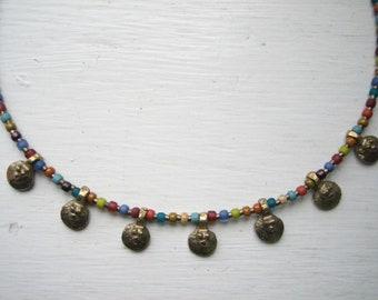 Hammered copper pendant necklace Primitive necklace Minimalist necklace Rustic necklace Dragonly necklace