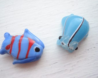 A fish and a frog, glass fish bead, glass frog bead