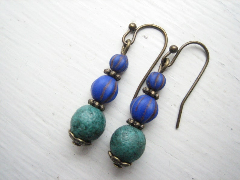 bright blue Czech glass bead drops small teal green Blue and teal dangle earrings everyday jewelry casual earrings Boho minimal