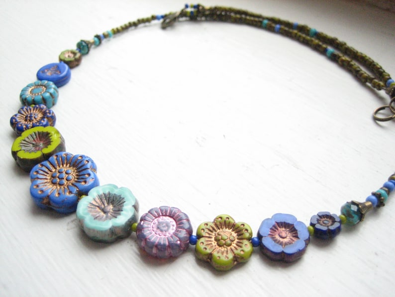 short necklace Czech flower necklace Boho woodland blue turquoise green Bohemian floral mixed flower bead cool colours