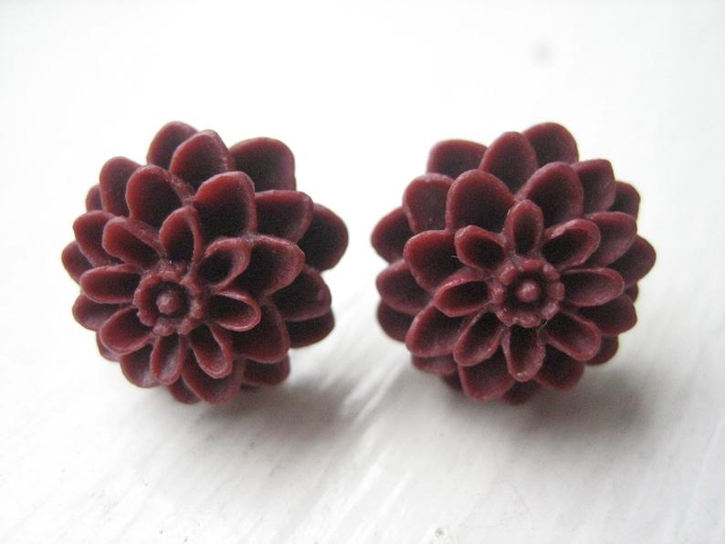 Stainless Steel Orange Resin Dahlias Flower Stud Earrings pair