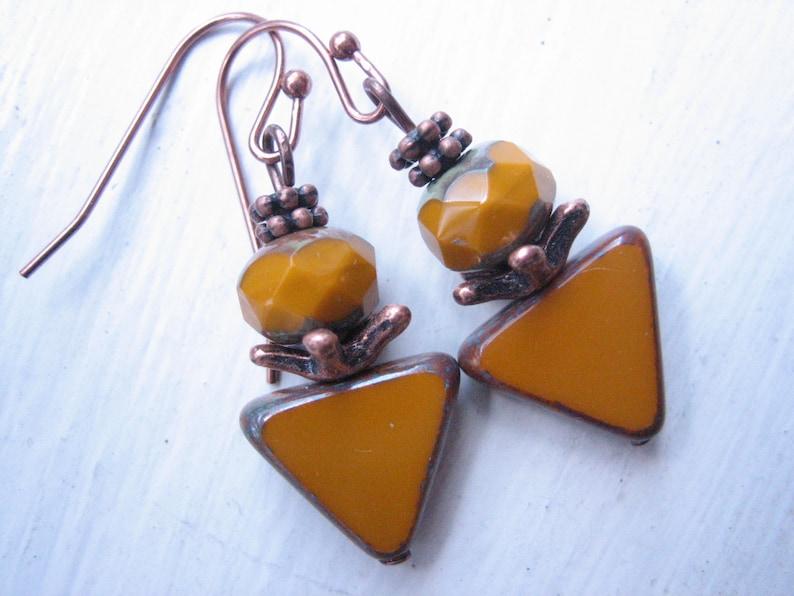 Mustard yellow earrings ochre earrings Czech glass Boho copper and ocher triangle earrings ocher drops mustard glass