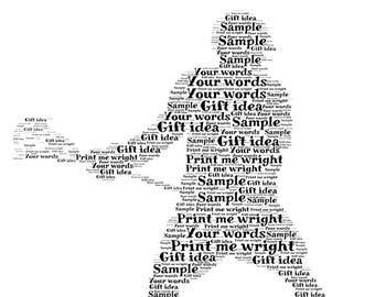Personalised word art digital image, lacrosse player - your own words, gift idea for all occasions