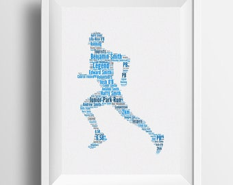 Personalised Word Art Male Runner Image Typography Gift Idea For Christmas Birthday Marathon