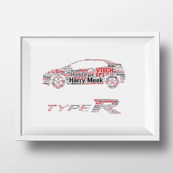 Framed Word Art Honda Civic Design Gift Idea For All