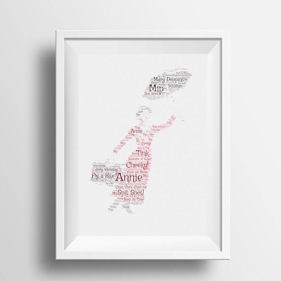 Framed word art Mary Poppins framed personalised word art | Etsy