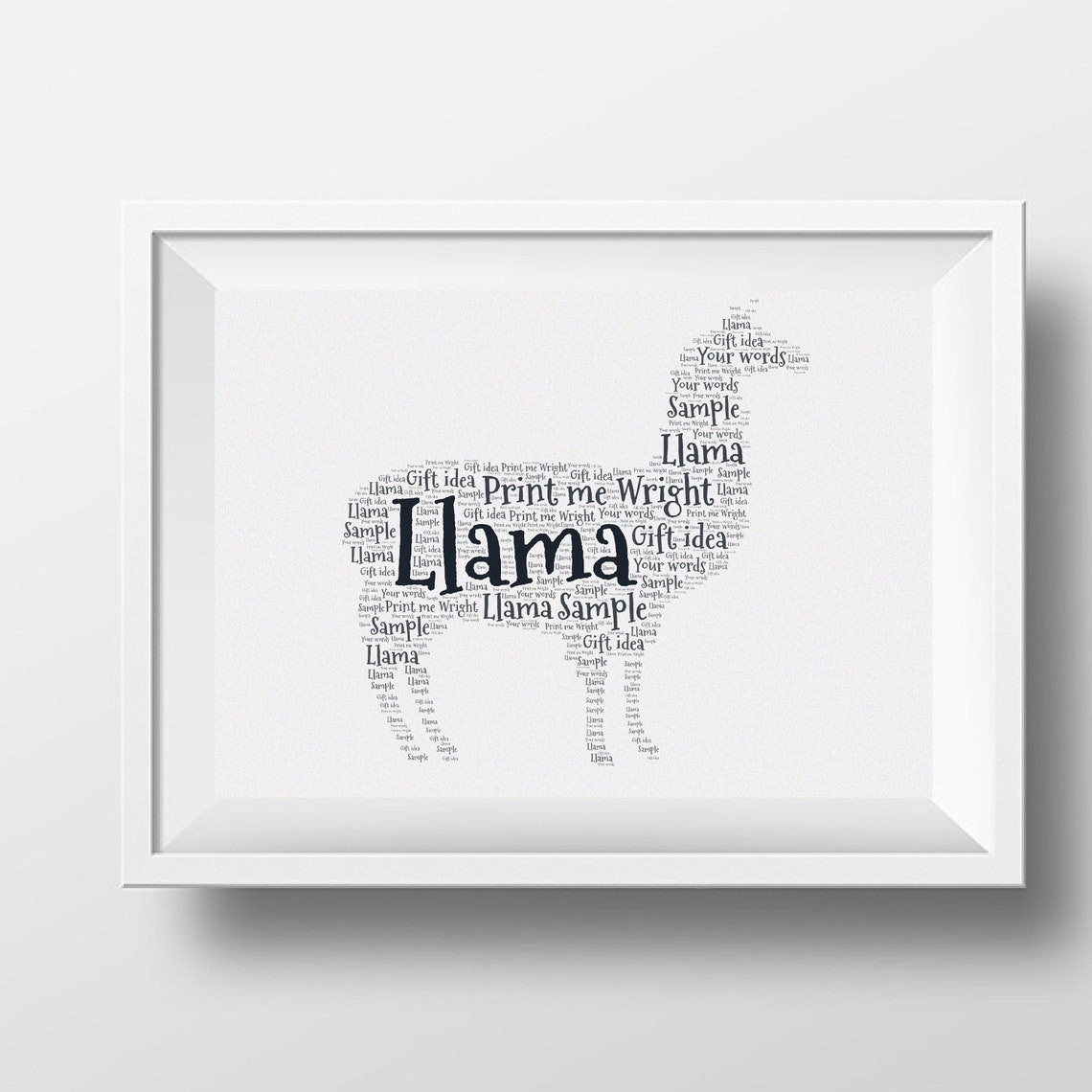 Personalised Llama Word Art