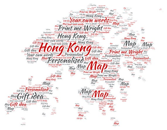 Personalised word art map of hong kong design great gift for gumiabroncs Choice Image