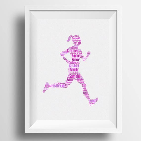 Personalised Word Art Female Runner Image Your Own Words