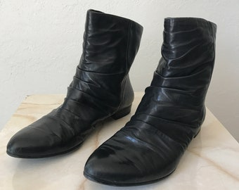 eafe17653219 Vintage BLACK leather ANKLE BOOTS 9 nine west booties ankle height