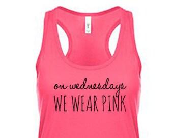 138c2749 On Wednesdays We Wear Pink Tank Top, Gym Shirt, Workout Clothes for Women  Workout Tank Top Running Tank Weight Lifting Tank