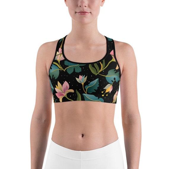 0f1f19369823c Black Floral Sports Bra Trendy Pretty Sports Bra Yoga Bra