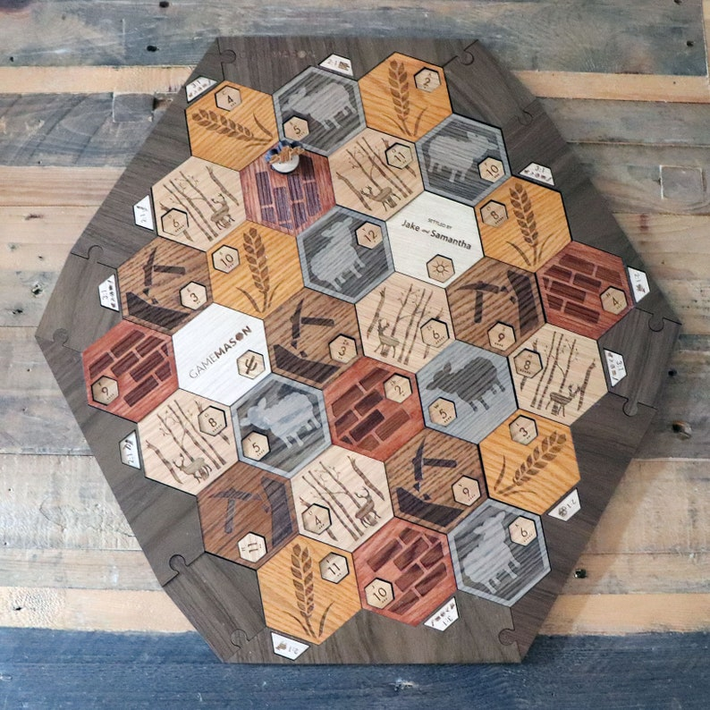 Deluxe Custom Catan Set White Oak With Walnut Border 5 6 Player Version With Insets