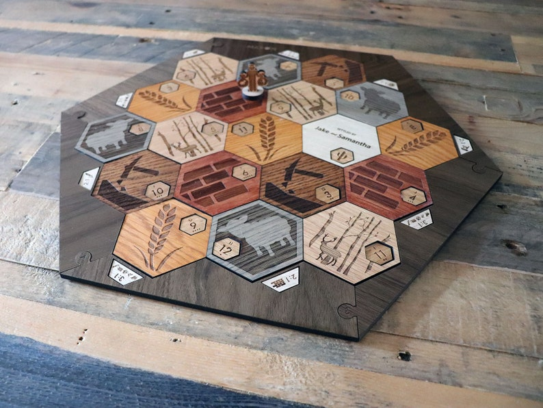 Deluxe Custom Catan Set White Oak With Walnut Border 3 4 Player Version With Insets