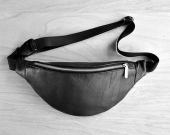 Genuine leather fanny pack, hip travel bag, belt bag, waist purse, real leather, black , casual zipper purse, echtleder , gift for traveler