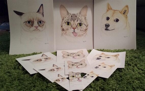 Pug Portrait Dessin Animaux Chien Illustration 5 X 7 8 X 10 11 X 14 Qualité Dimpression