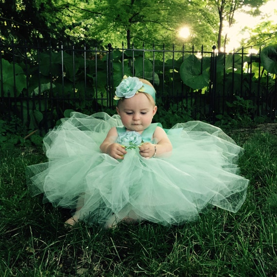 Mint Green Tutu Dress Baby Blessing Outfit Christening Gown