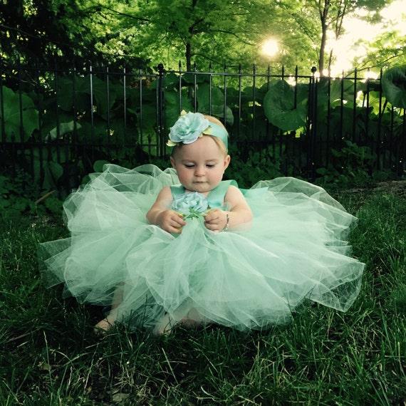 da6c48491a80 Mint Green Tulle Dress Flower Girl Attire Flowergirl Gown