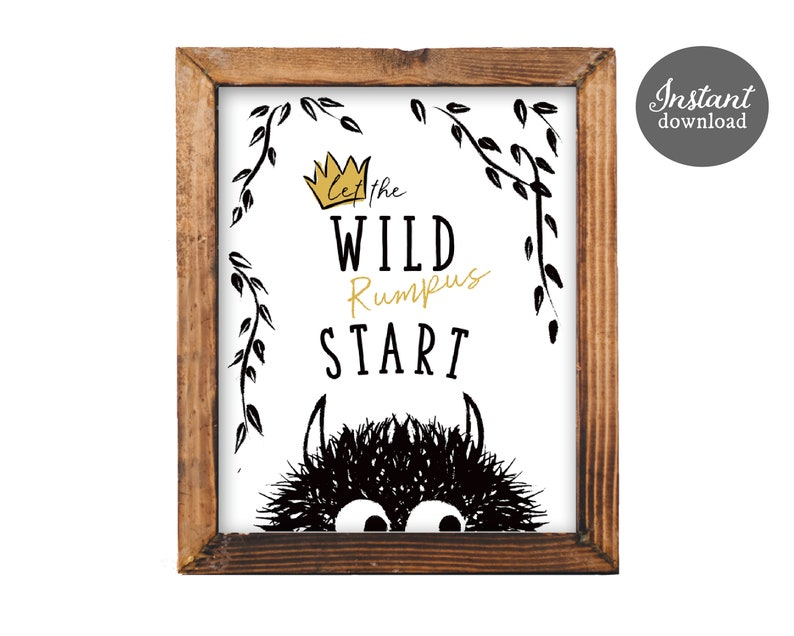 picture regarding Let the Wild Rumpus Start Printable identify Wild Matter Decor Allow for the Wild Rumpus Start out Wild Factors Birthday Wild Elements Printable Poster Birthday Decor Quick Down load