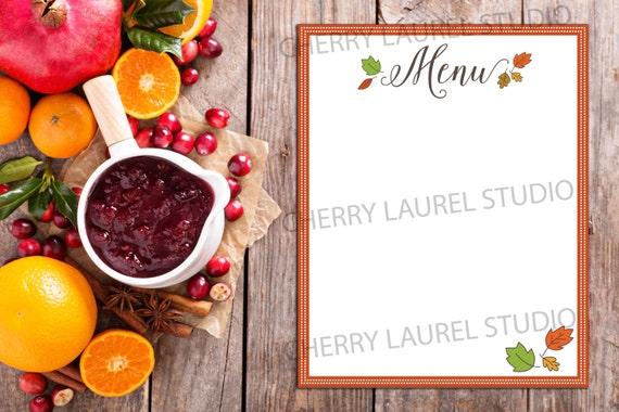 thanksgiving menu autumn leaves printable art menu template etsy