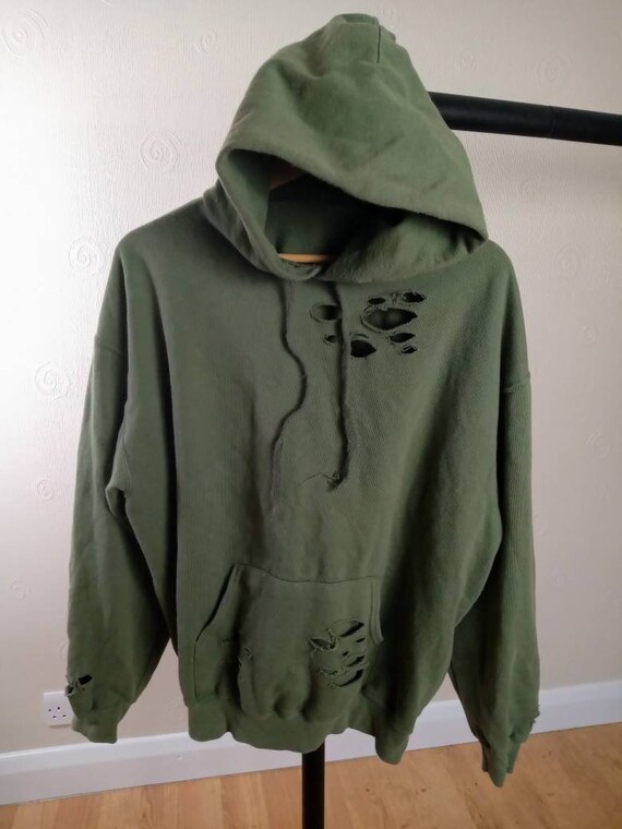 Retro Khaki Green Ripped Fitted Hoody Customised A