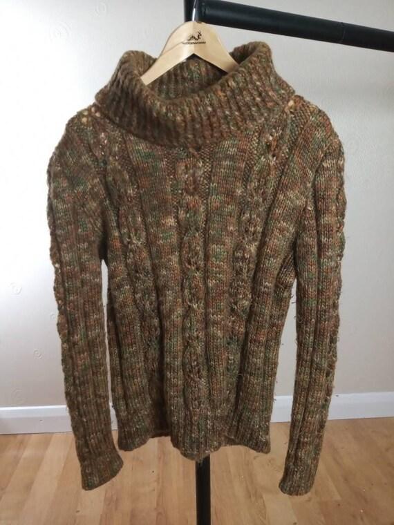 Vintage Handmade Chunky Knit Aran Wool Turtleneck