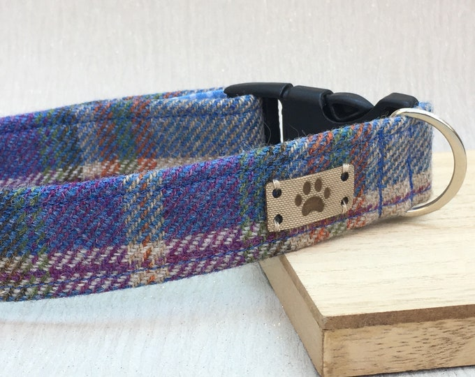 Blue Tweed Dog Collar and leash, Adjustable Male dog Collar
