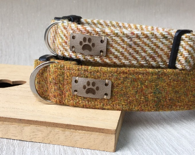 Mustard Tweed Dog Collar, Female Dog Collar, Best Seller, Adjustable Collar, Dog Accessory, Handmade Collar, Country Chic Dog