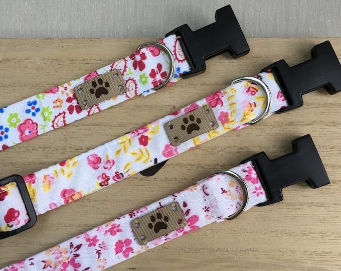 Summer Floral Dog Collar, Girl Dog Collar, Adjustable Dog Collar, Dog Accessories, Female Dog Collar, Fabric Dog Collar, Gift for dog owners