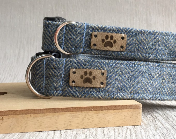 Blue Herringbone Tweed Male Adjustable Dog Collar, New Puppy Handmade Collar, Country Chic Dog lovers