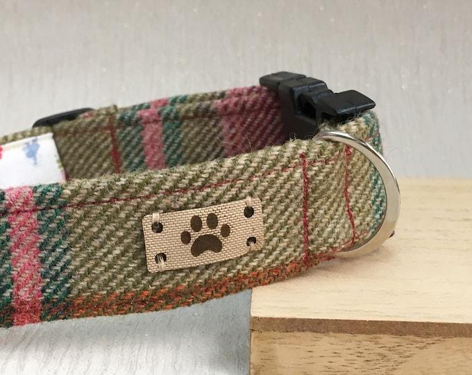 Pink and Green Tweed Female Dog Collar, Girl Adjustable Dog Collar, Dog Accessories, Handmade Dog Collar, Country Chic Dog