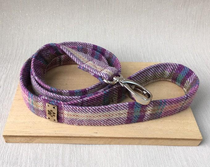 Pink and Purple tweed female dog lead girl dog leash