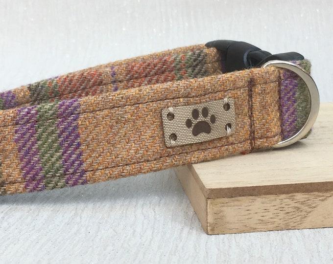 Brown and purple Tweed Dog Collar, Boy Dog Collar, girl dog collar, Adjustable Dog Collar, Dog Accessories, Handmade Dog Collar, Country Ch