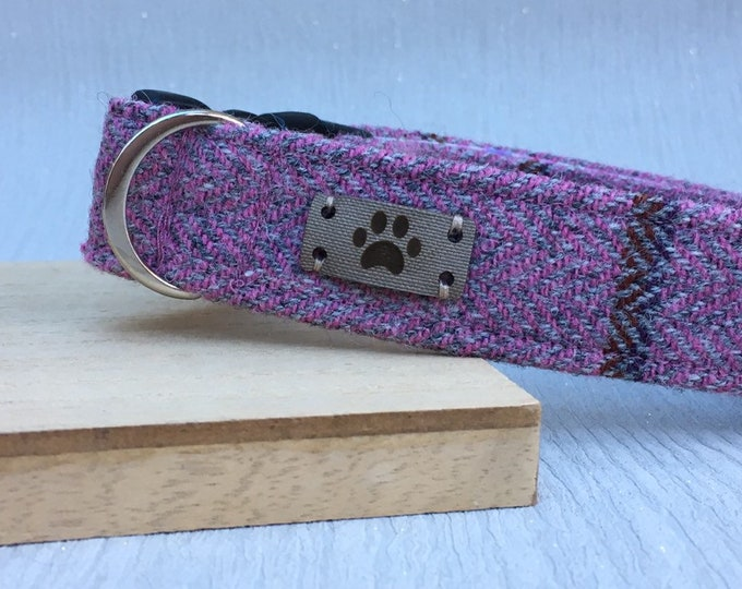 Dusky Pink Tweed Dog Collar, Girl Dog Collar, Adjustable Collar, Dog Accessories, Handmade Collar, Country Chic Dog, Gift for dogs