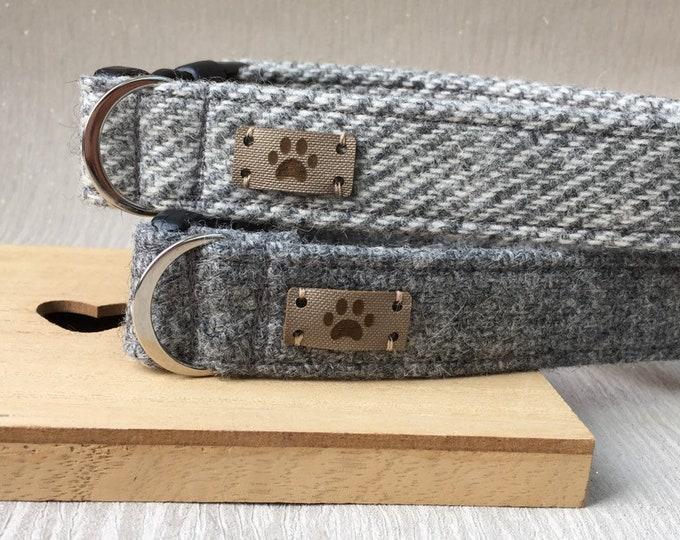 Grey Tweed Dog Collar, Female Dog Collar, Best Seller, Adjustable Collar, Dog Accessory, Handmade Collar, Country Chic Dog