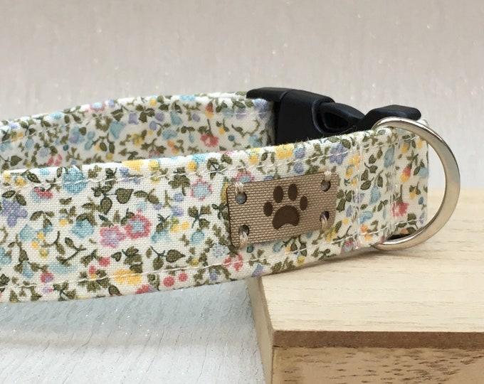 Liberty English Garden, Dog Collar, Girl Dog Collar, Adjustable Dog Collar, Country chic, Fabric Dog Collar, Gift for your Pooch,