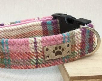 Pink and Cream Tweed Female Dog Collar, Best Seller, Adjustable CollarHandmade Collar, Country Chic Dog
