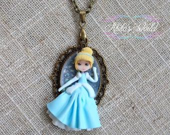 Cinderella necklace - Disney princess jewelry - Stainless Steel - Fantasy doll on a bronze midlong necklace