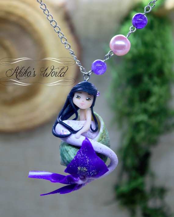 Tiny mermaid with black hair and red tail in her seashell Polymer clay chibi  doll pendant Fantasy  kawaii jewel Unique necklace model