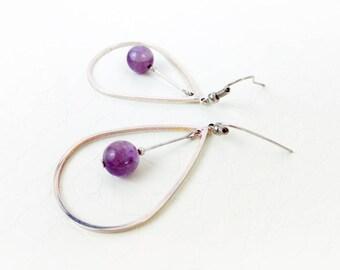 Earrings 'Cyrille' II - Amethyst gemstones and silver teardrop hoops - Statement earrings, gift for her - Handmade jewelry