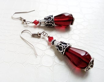 Earrings 'Marianne' - Red Czech glass teardrop beads and Swarovski crystals - Valentine gift, gift for her, boho chic - Handmade jewelry