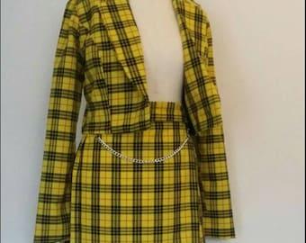 8686d6cbd6 Clueless Cher Costume Suit in SUNFLOWER YELLOW Check Tartan Blazer Skirt