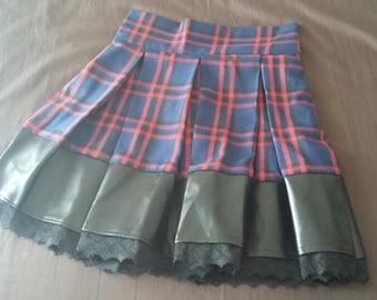 Ladies Flared Tartan & Leather Skirt size 12