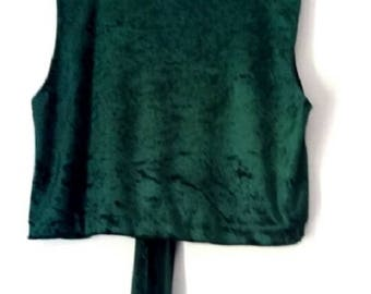 Womens Evening Velvet Sleeveless Boatneck Crop Top, Waistcoat with Front or Back Tie