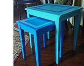 Ocean Blue Hand Painted Nesting Tables